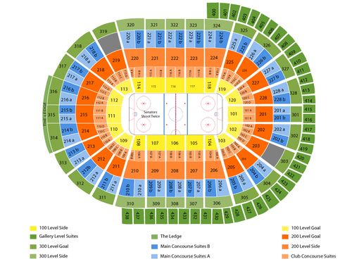 New York Rangers at Ottawa Senators Venue Map