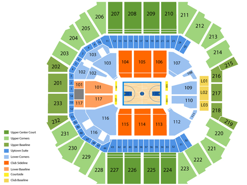 Dallas Mavericks at Charlotte Bobcats Venue Map