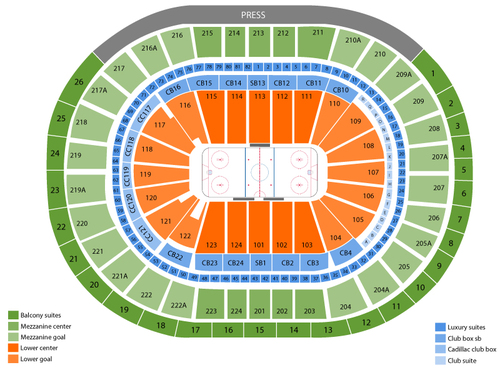 Columbus Blue Jackets at Philadelphia Flyers Venue Map