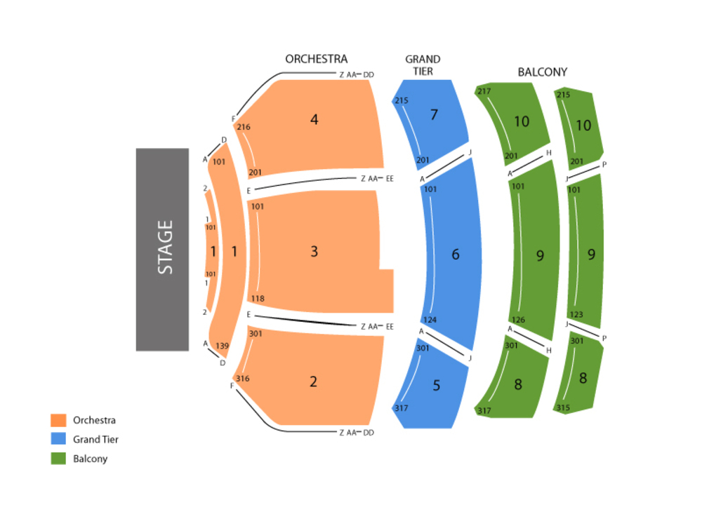 Durham Performing Arts Center seating map and tickets