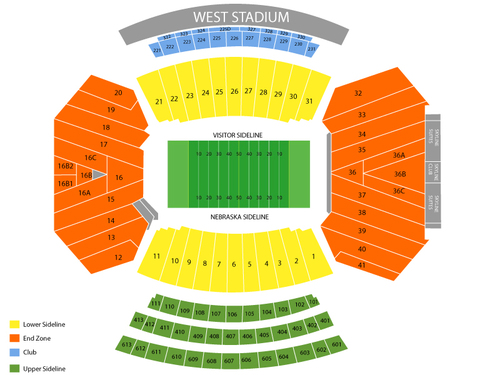 UCLA Bruins at Nebraska Cornhuskers Football Venue Map