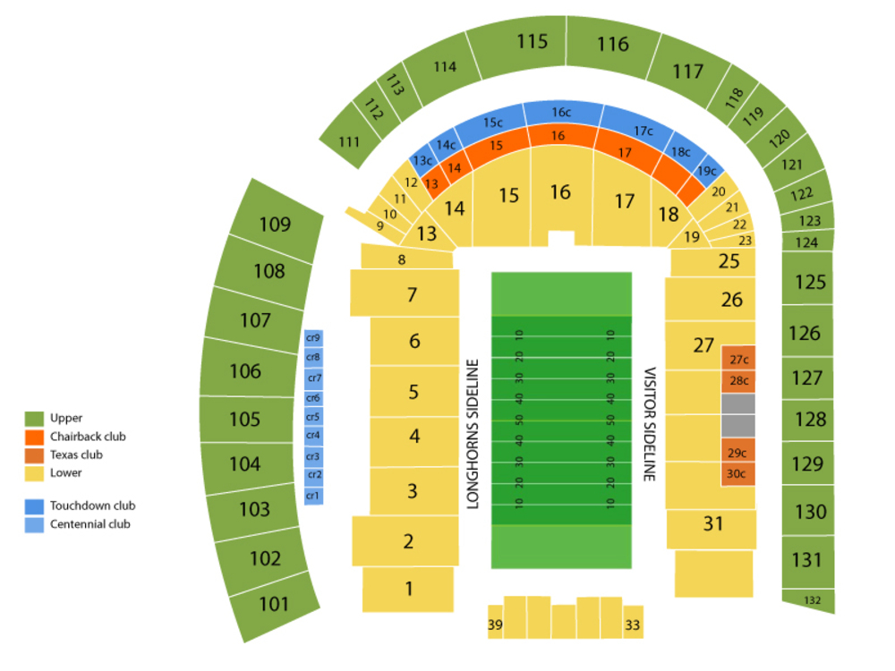 Seating Chart for Football Seating Chart at Darrell K Royal Memorial Stadium