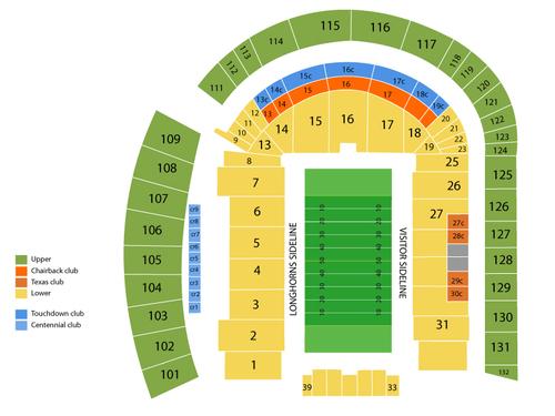 Texas Longhorns Football Season Tickets Venue Map
