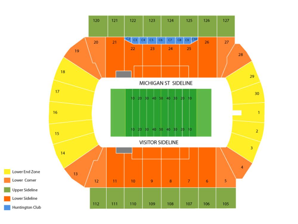 Utah State Aggies at Michigan State Spartans Football Venue Map