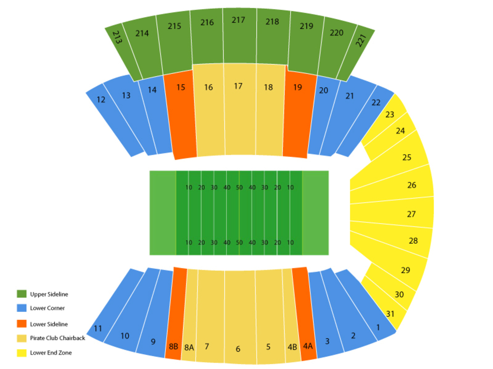 Dowdy-Ficklen Stadium seating map and tickets