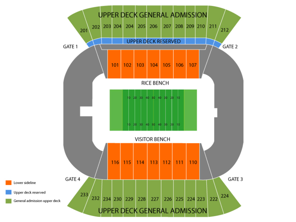 UTEP Miners at Rice Owls Football Venue Map