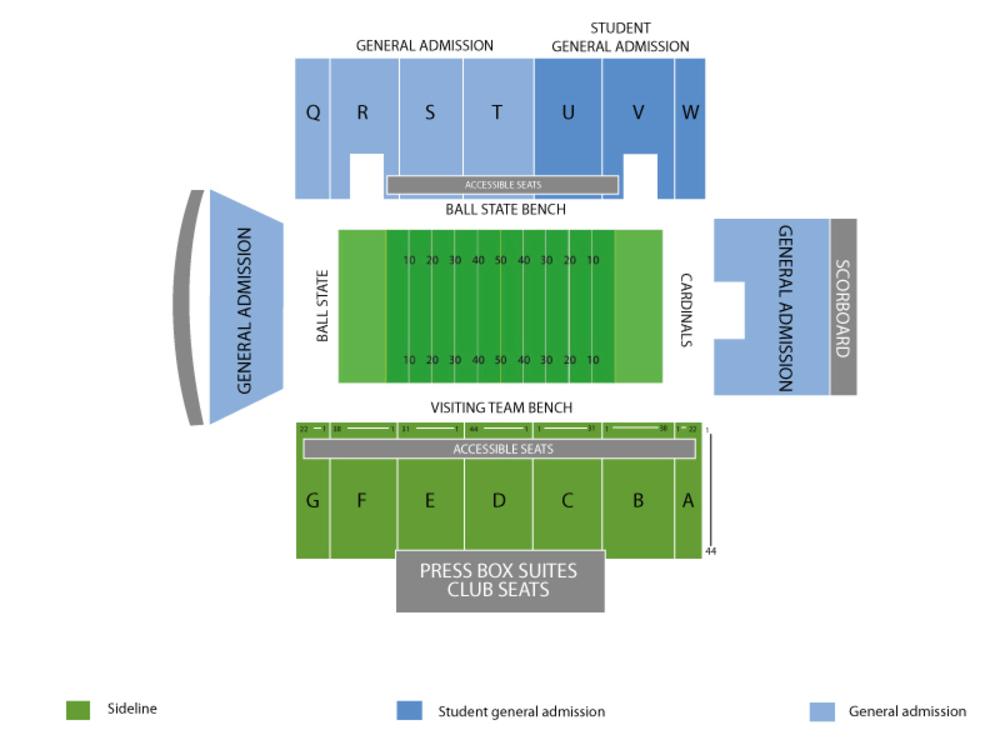 Toledo Rockets at Ball State Cardinals Football Venue Map