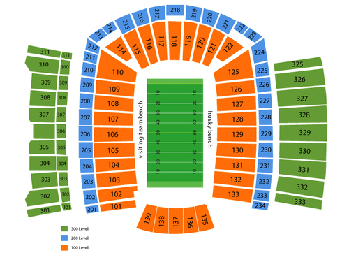 Boise State Broncos at Washington Huskies Football Venue Map