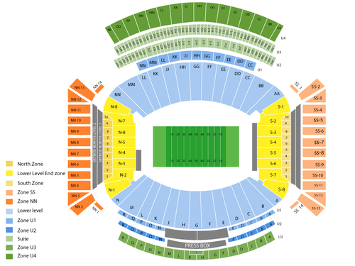 Tennessee Volunteers at Alabama Crimson Tide Football Venue Map