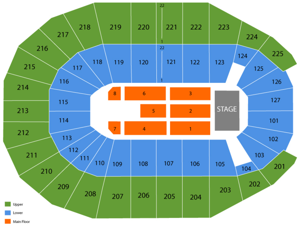 Seating Chart for End Stage Seating Chart at Verizon Arena Little Rock