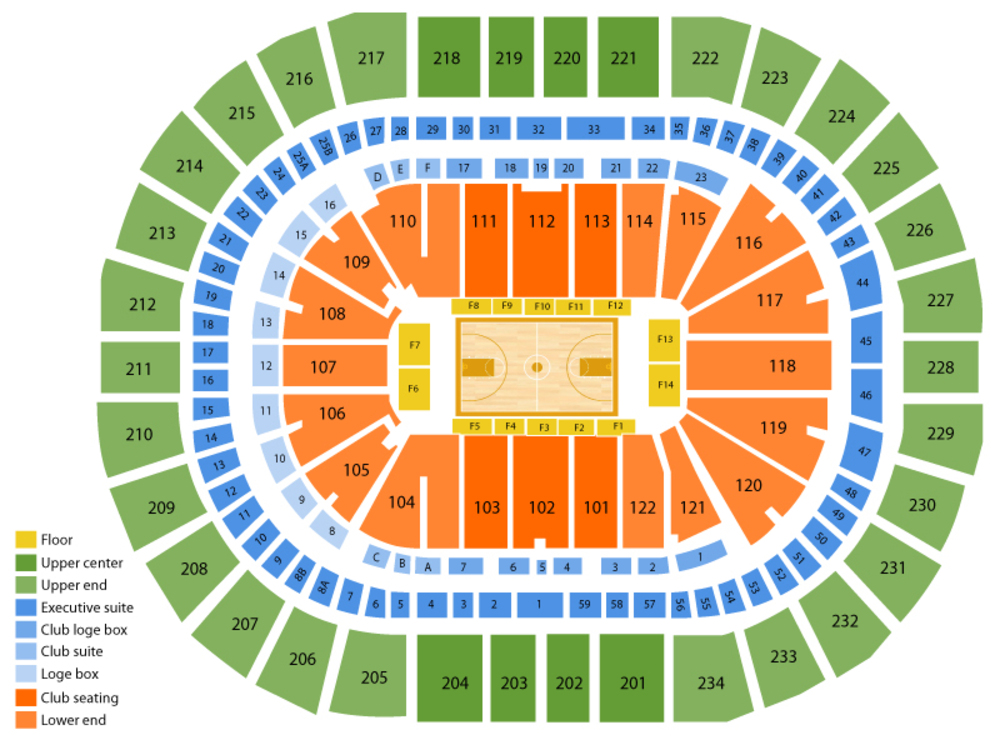 NCAA Mens Basketball Tournament - Session 2 Venue Map