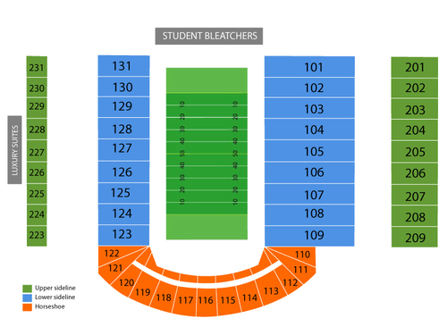 Memorial Stadium- IL Seating Chart
