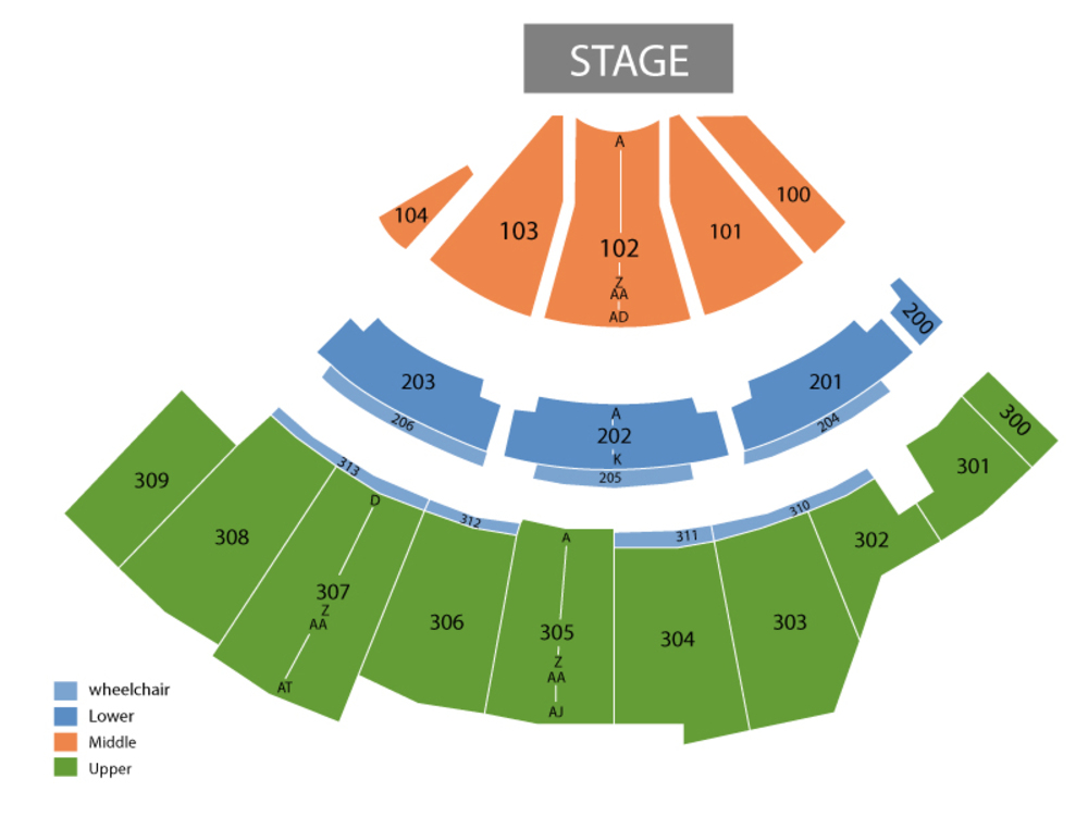 Seating Chart for End Stage Seating Chart at The Wharf Amphitheatre