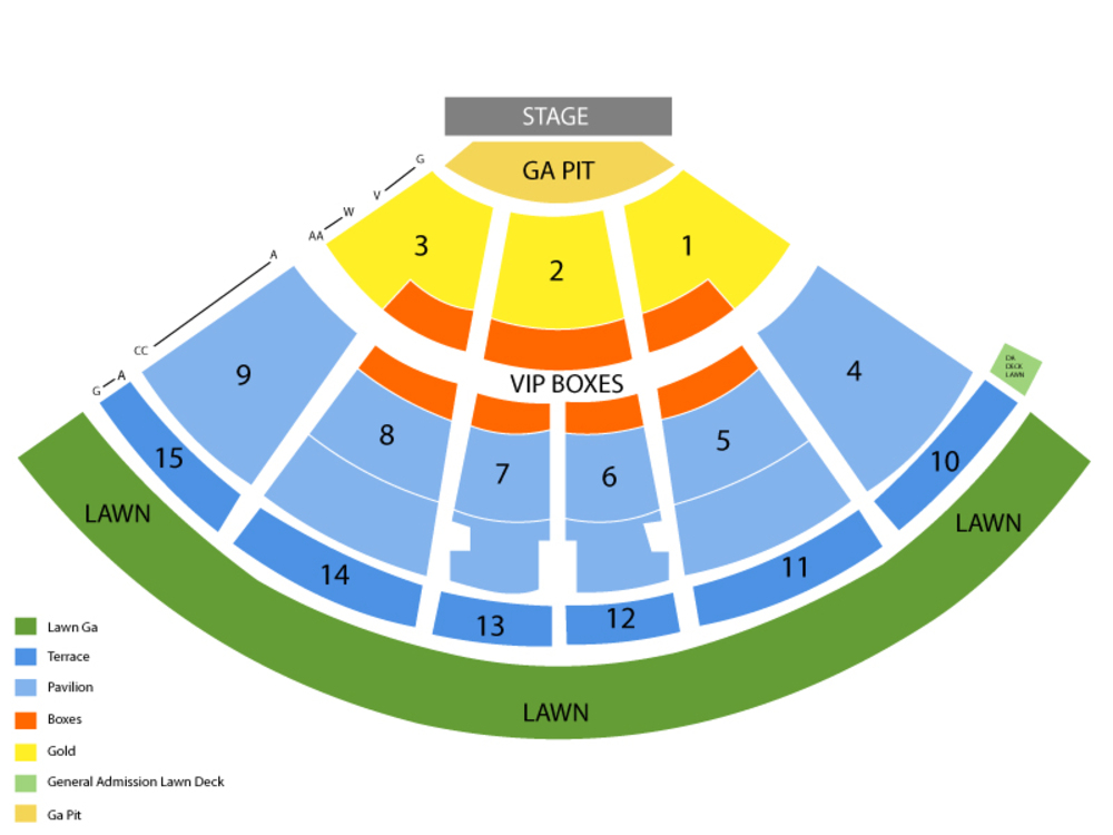 Seating Chart for Full House Seating Chart at Verizon Wireless Amphitheatre (NC)
