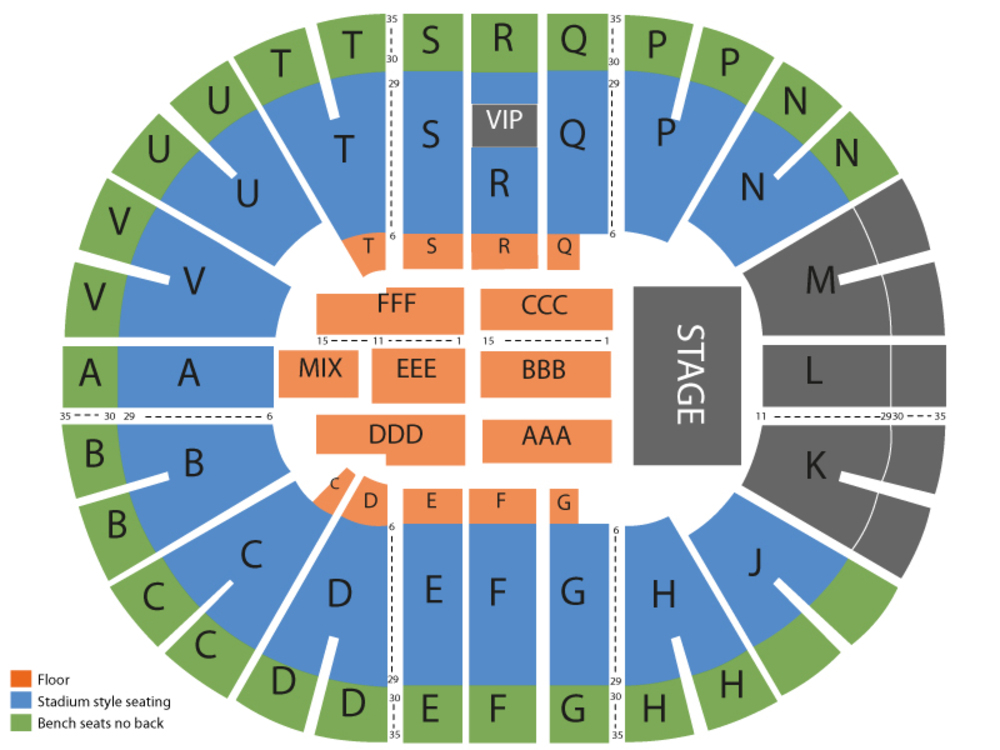 Seating Chart for End Stage Seating Chart at Viejas Arena