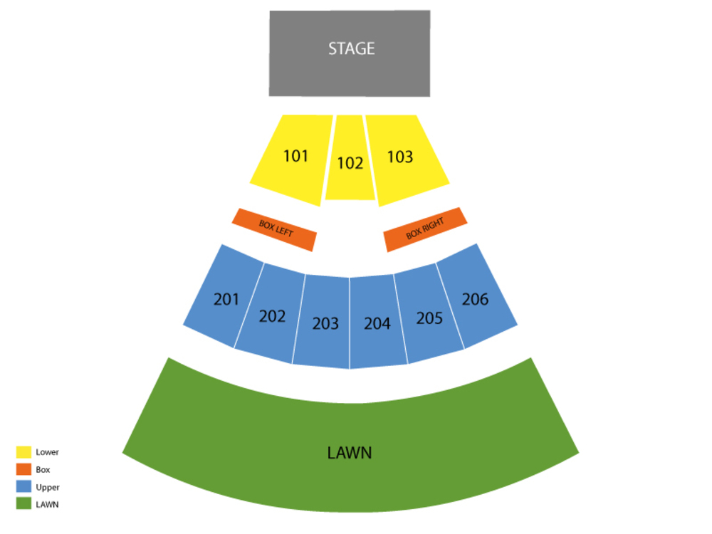 Seating Chart for End Stage W/ GA Lawn Seating Chart at Toyota Pavilion At Montage Mountain