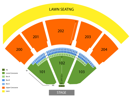 Shoreline amphitheatre ca seating chart events in mountain view ca