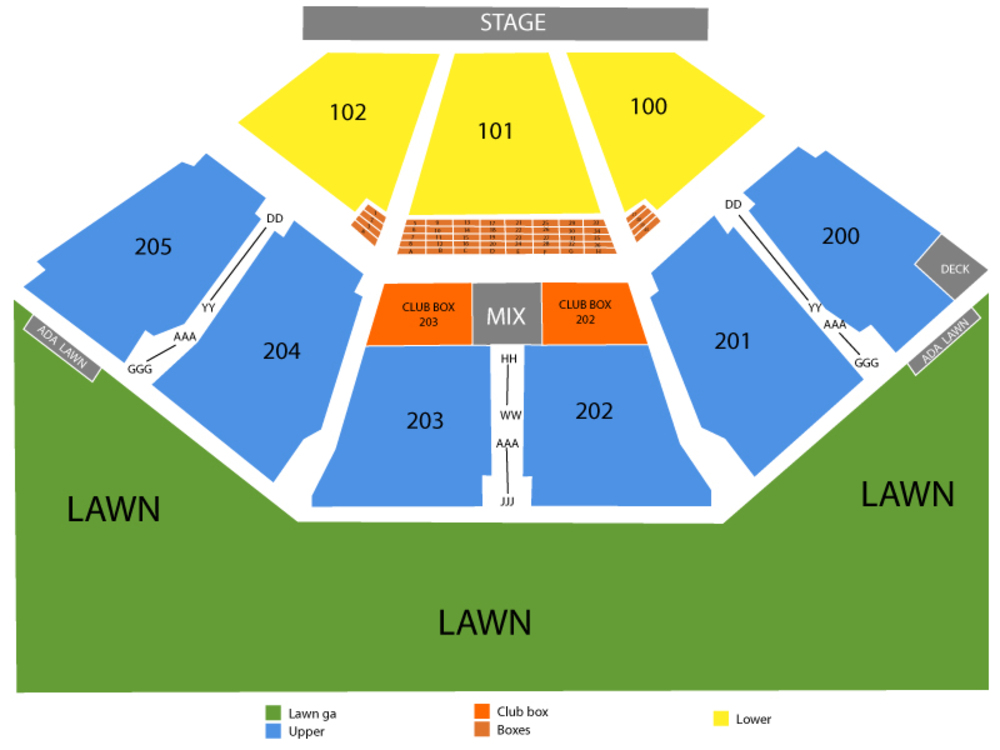 Zac Brown Band Venue Map
