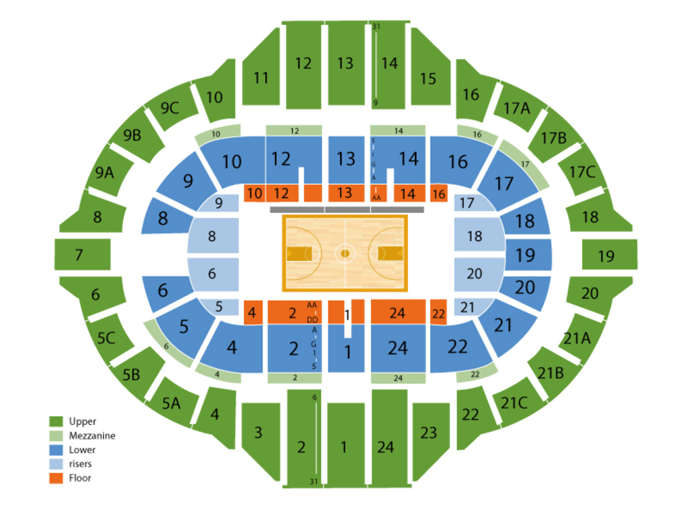 Loyola Chicago Ramblers at Bradley Braves Basketball Venue Map