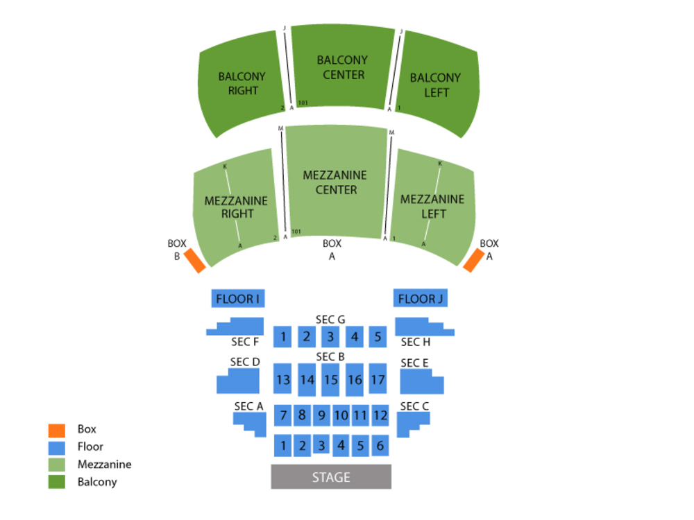 Wilbur Theatre seating map and tickets