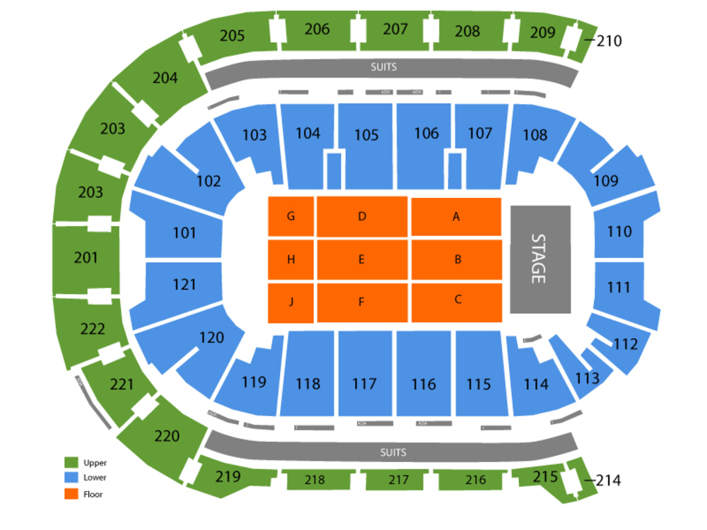 Seating Chart for End Stage Seating Chart at Ford Center