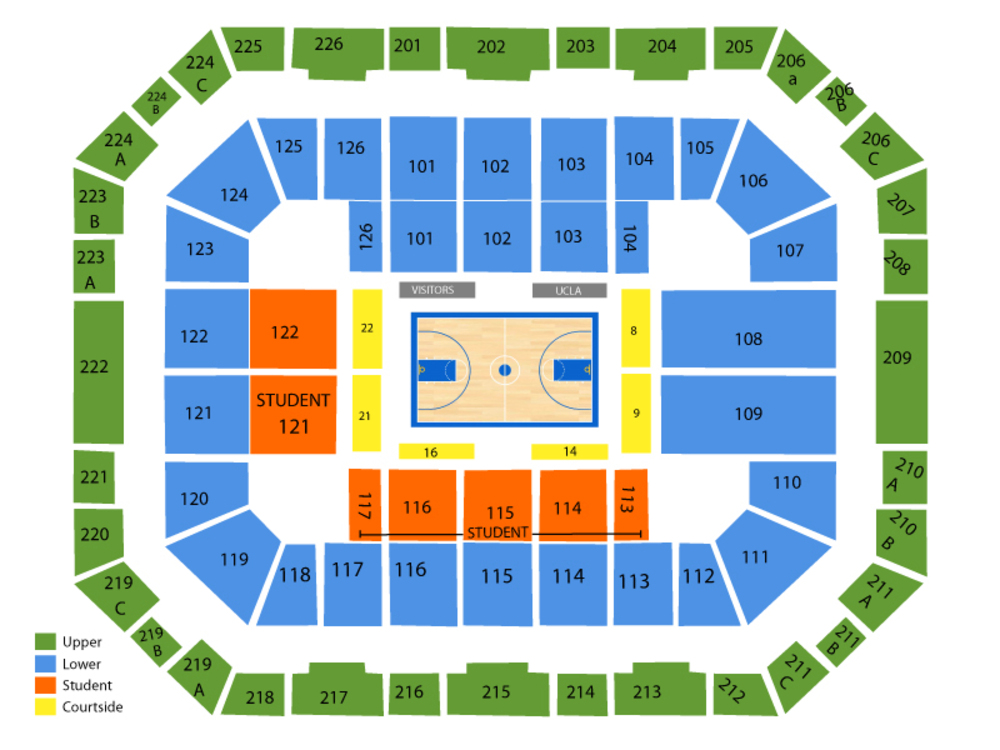 San Jose State Spartans at UCLA Bruins Basketball Venue Map
