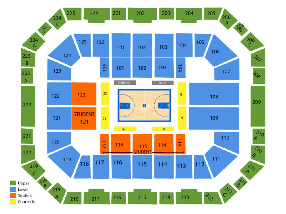 Belmont Bruins at UCLA Bruins Basketball Venue Map