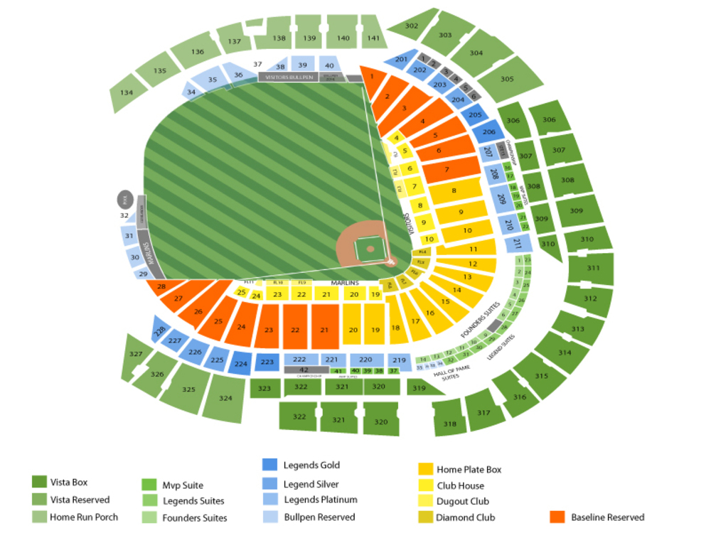 Tampa Bay Rays at Miami Marlins Venue Map