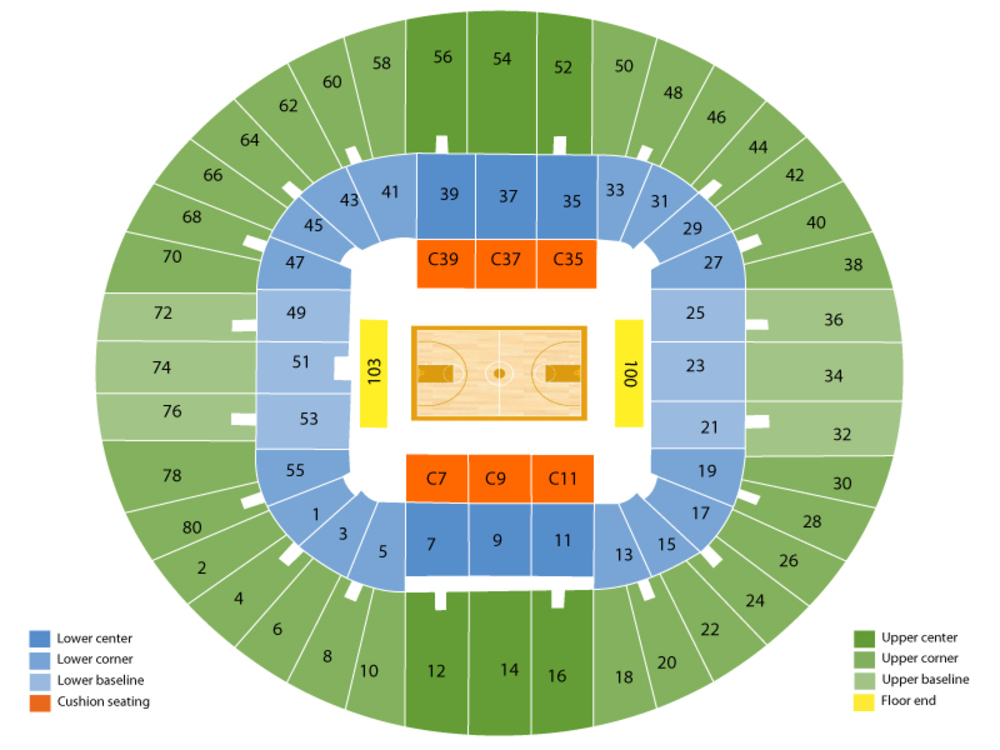 TCU Horned Frogs at West Virginia Mountaineers Basketball Venue Map