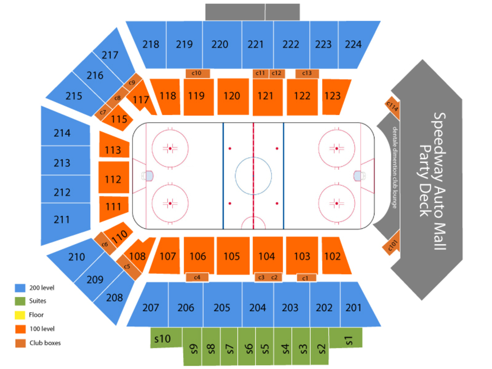 Chicago Wolves at Rockford IceHogs Venue Map