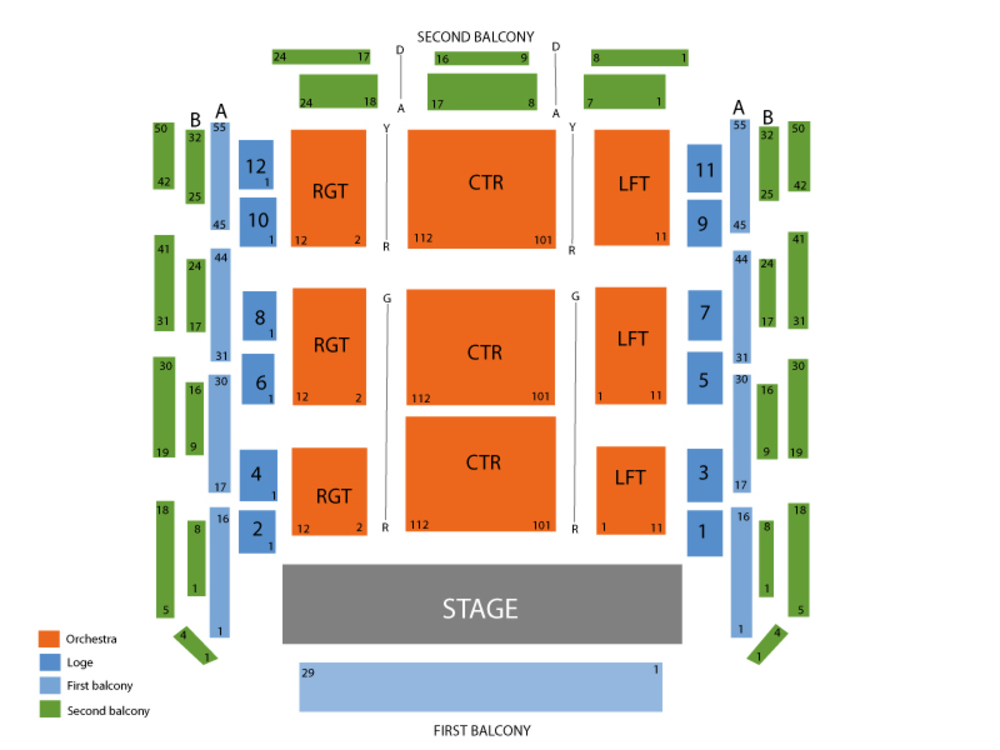 Seating Chart for Ozawa Hall Seating Chart at Tanglewood (Lenox)