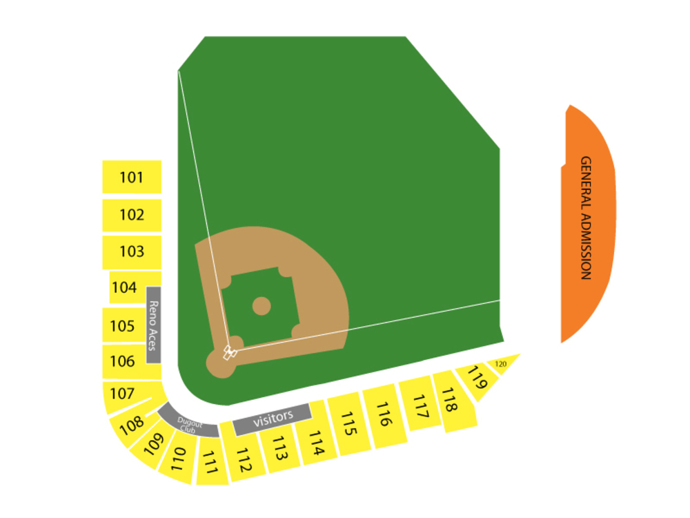 Las Vegas Aviators at Reno Aces Venue Map