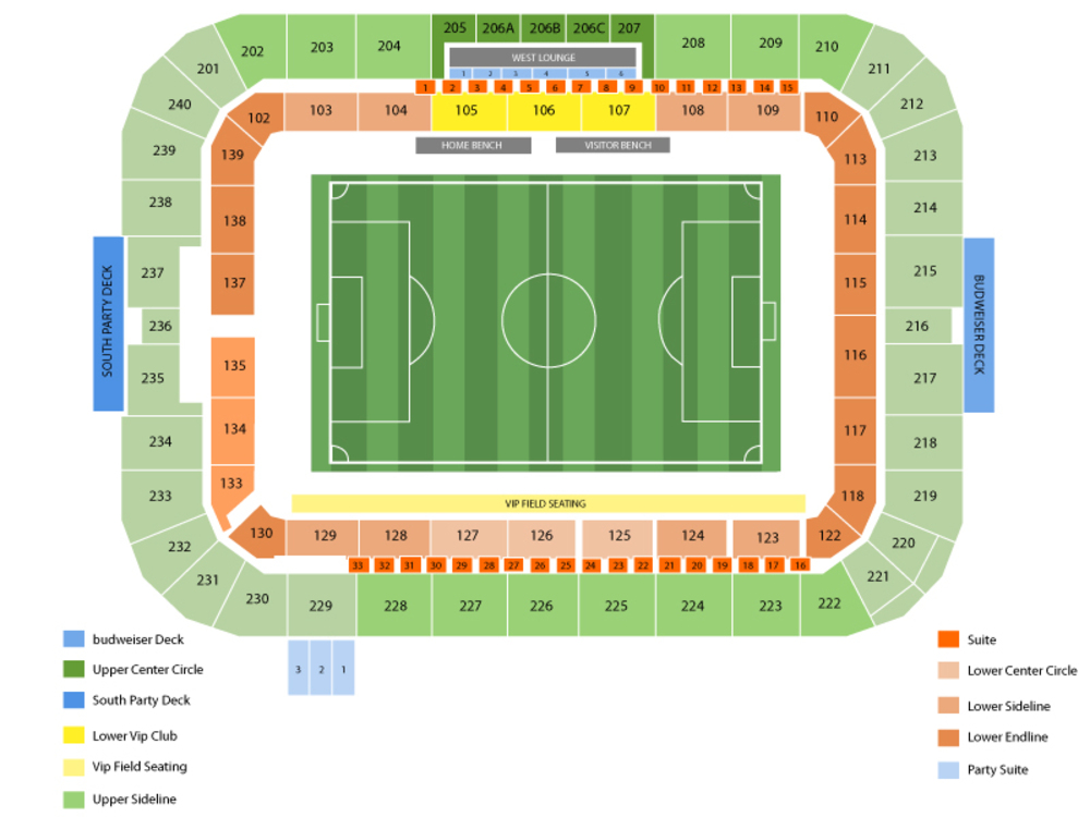 Los Angeles Galaxy at Houston Dynamo Venue Map