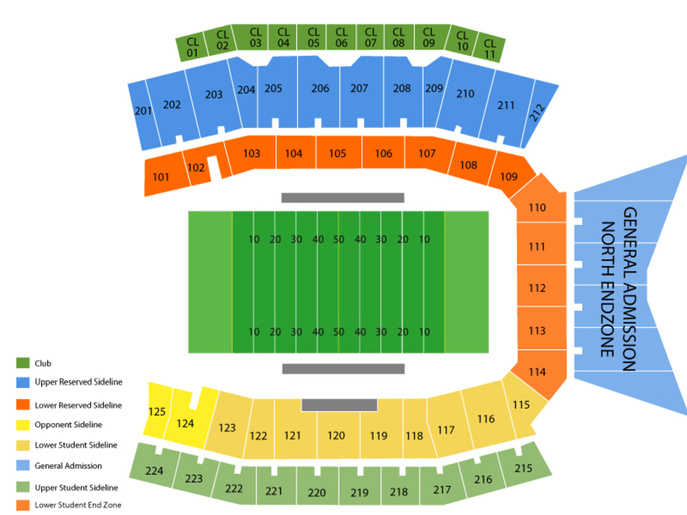 UTEP Miners at North Texas Mean Green Football Venue Map