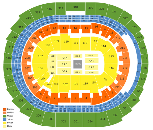 UFC 227 Venue Map