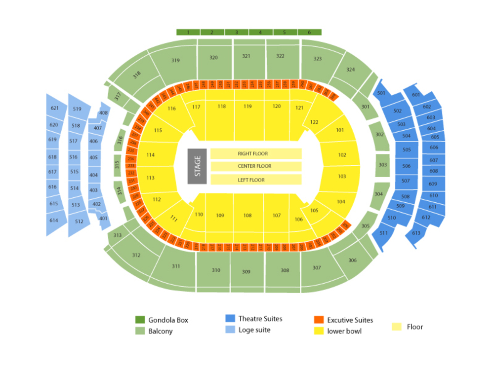 Lady Gaga Venue Map