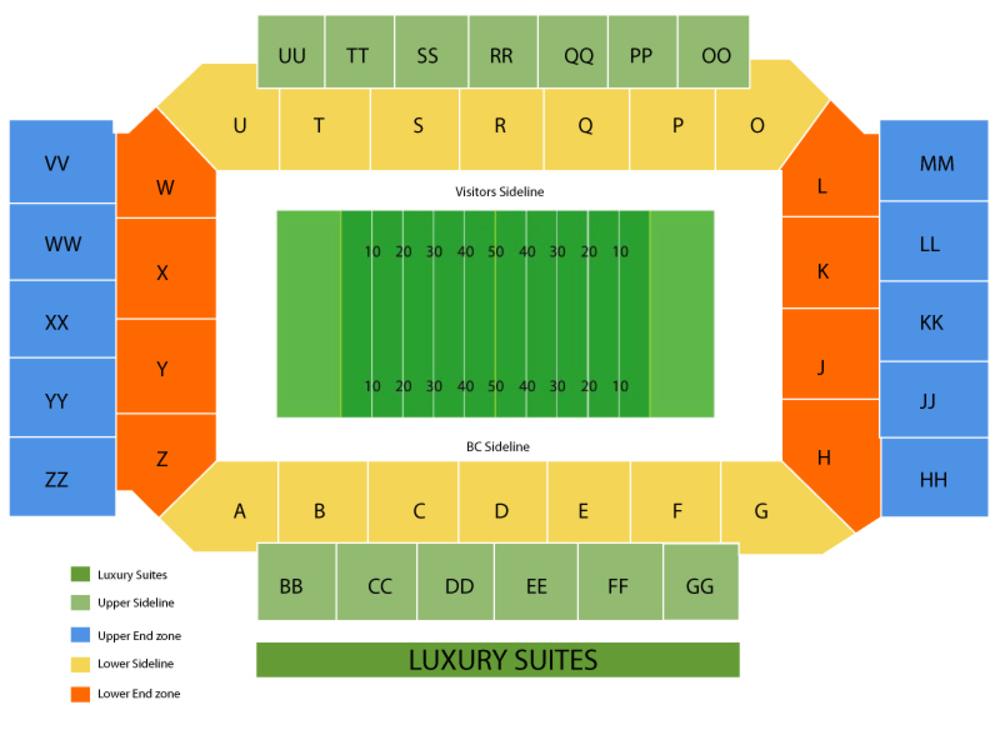 Boston College Eagles Football Season Tickets Venue Map