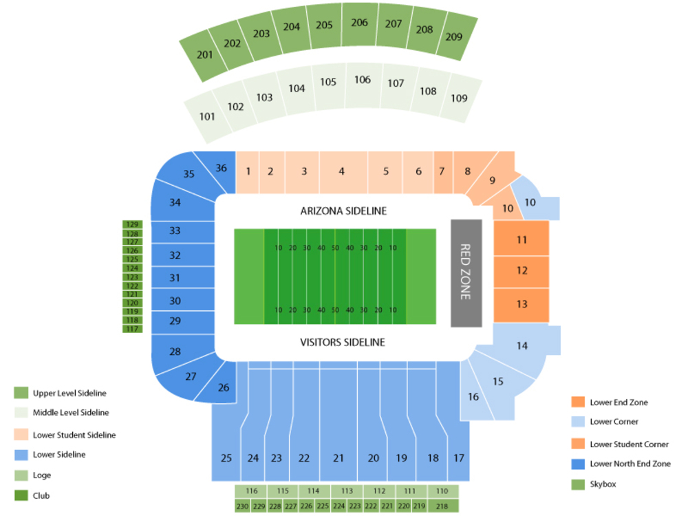 Arizona State Sun Devils at Arizona Wildcats Football Venue Map
