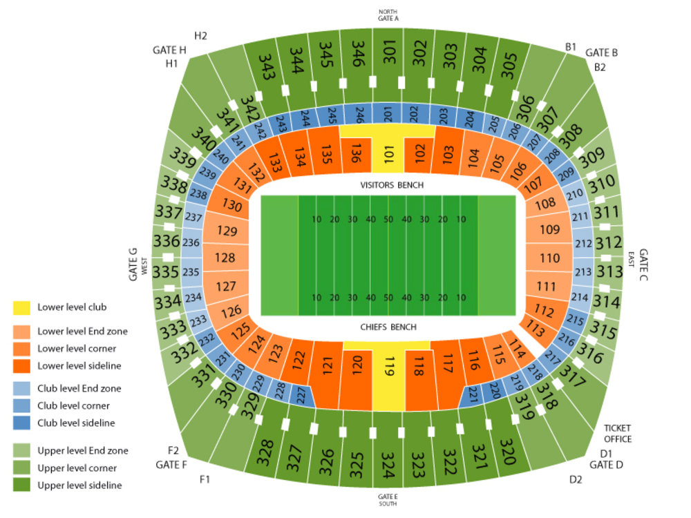 Oakland Raiders at Kansas City Chiefs Venue Map