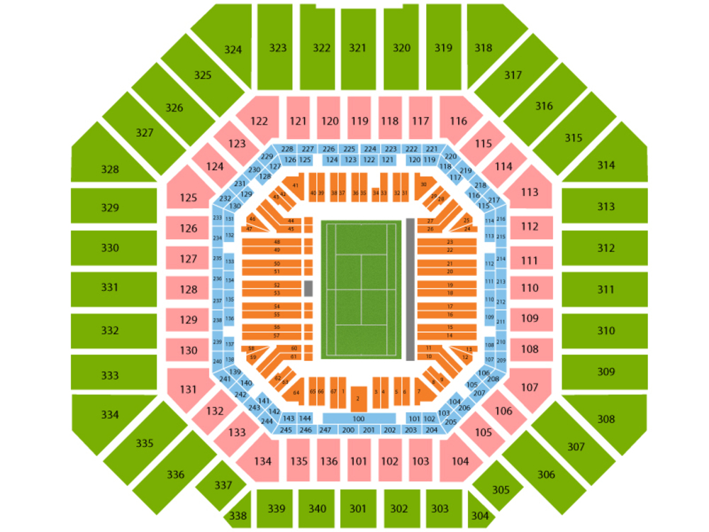 US Open Tennis Championship - Session 16 (Men's 4th Round/Women's Round of 16) Venue Map