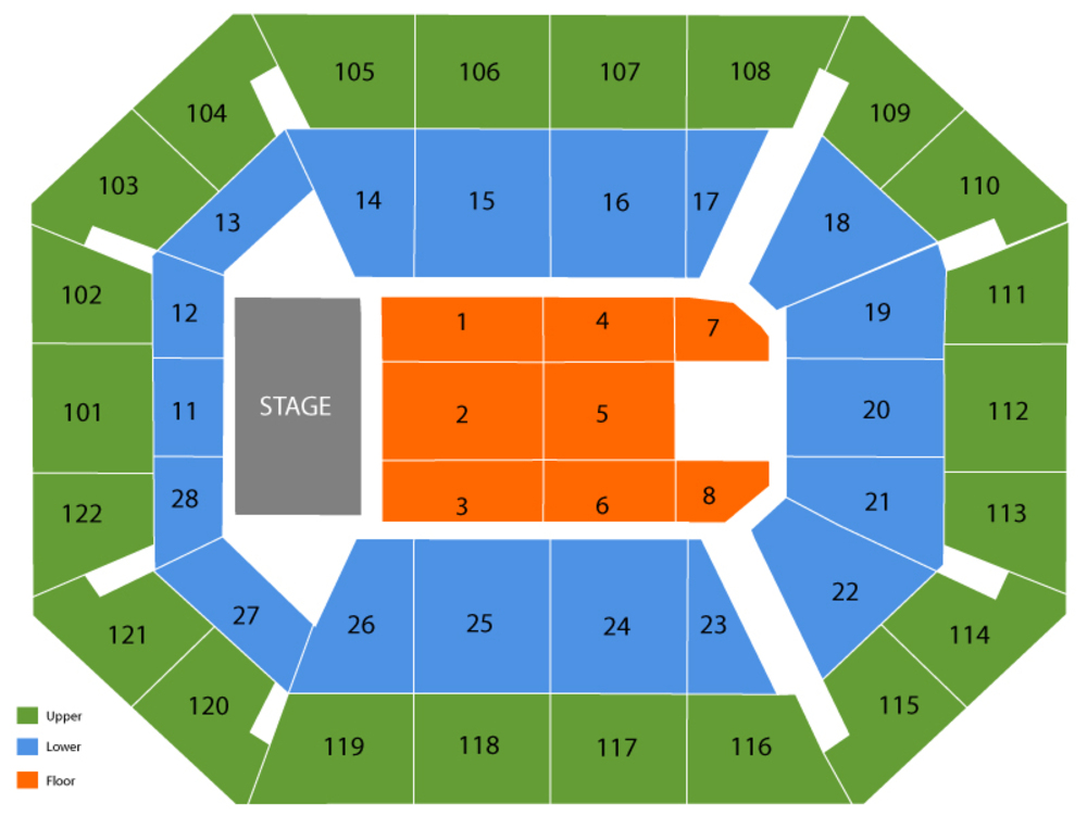 Seating Chart for End Stage Seating Chart at Mohegan Sun Arena