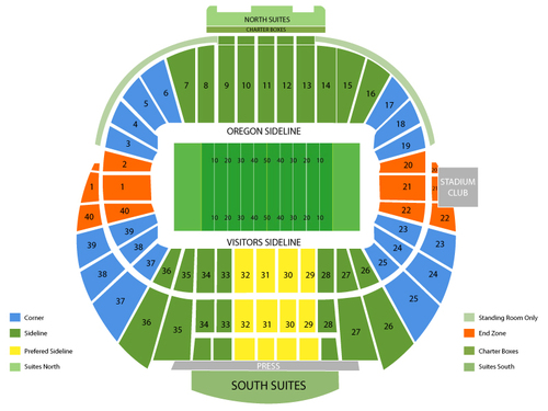 Tennessee Volunteers at Oregon Ducks Football Venue Map