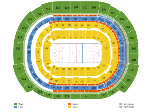 Nashville Predators at Florida Panthers (Reduced Capacity, Social Distancing) Venue Map