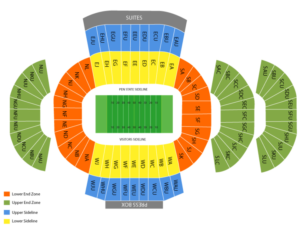 Penn State Nittany Lions Football Season Tickets Venue Map