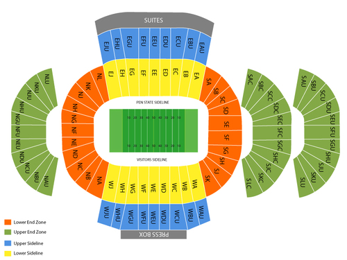 Central Florida Knights at Penn State Nittany Lions Football Venue Map