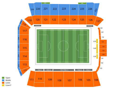 USA at Canada Womens National Soccer Venue Map