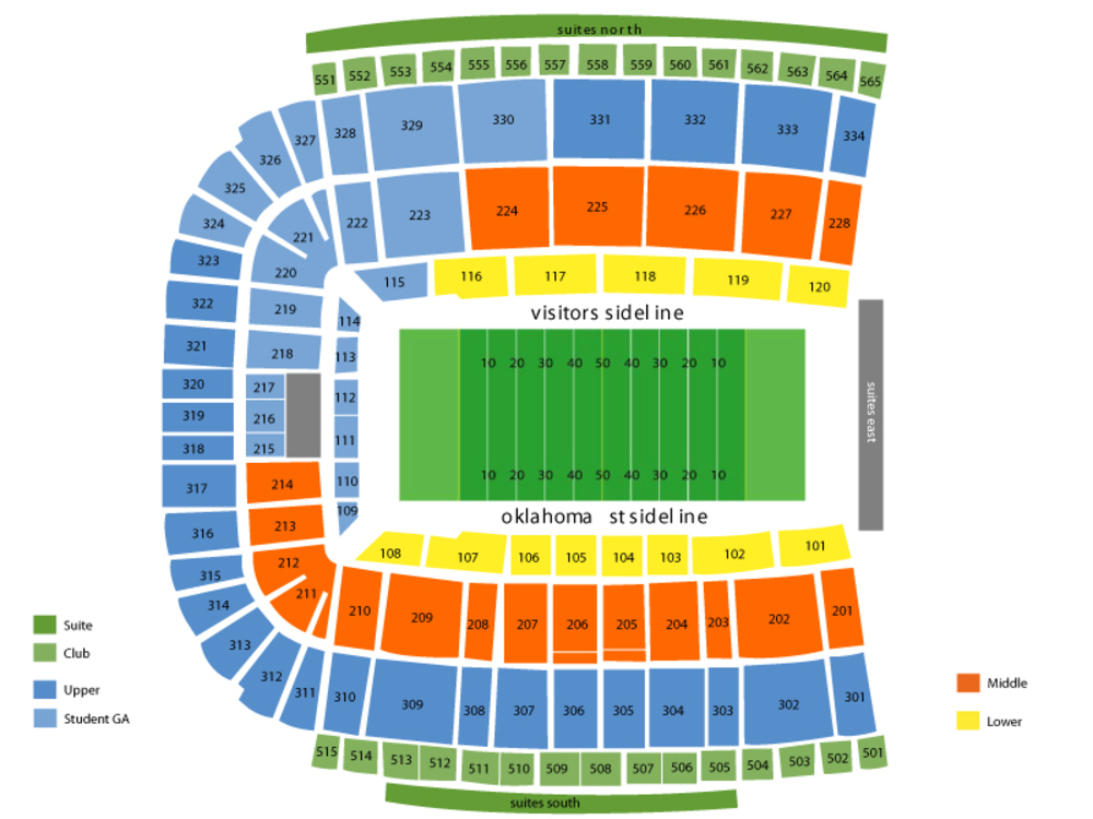 Tulsa Golden Hurricane at Oklahoma State Cowboys Football Venue Map