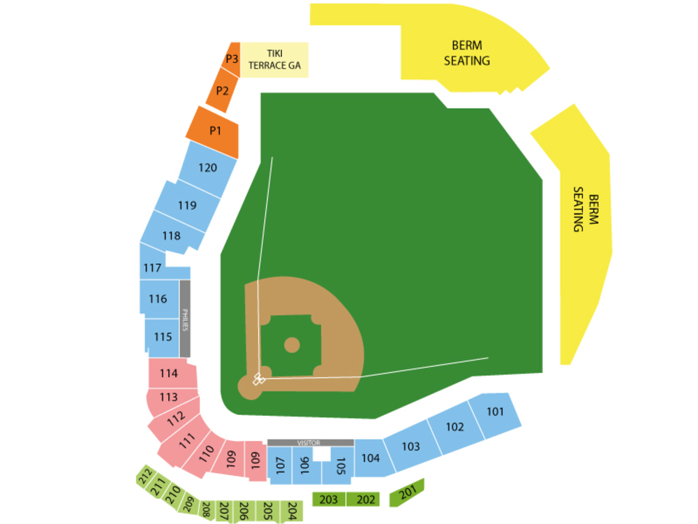 Spring Training: Atlanta Braves at Philadelphia Phillies Venue Map