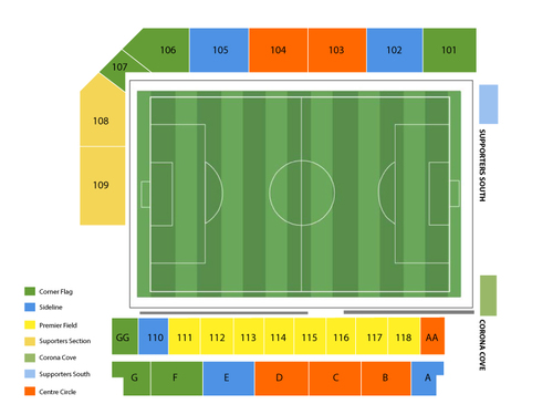 Colorado Rapids at San Jose Earthquakes Venue Map
