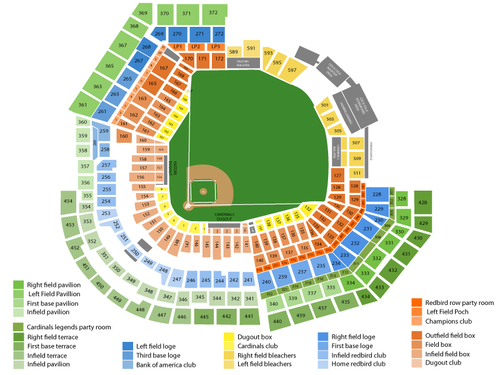 Los Angeles Dodgers at St. Louis Cardinals Venue Map